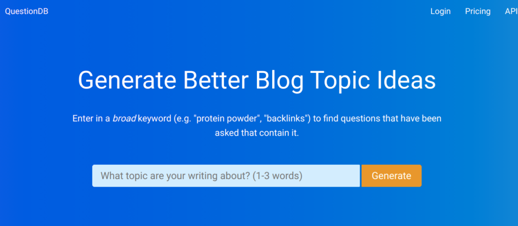 questiondb keywords tool