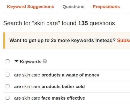 keyword suggestions